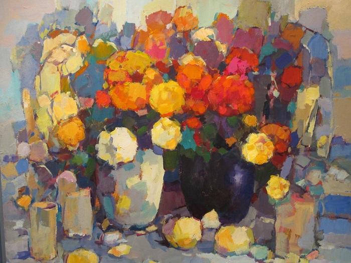 Frans Manders Bloemen, 70x80, Acryl op paneel