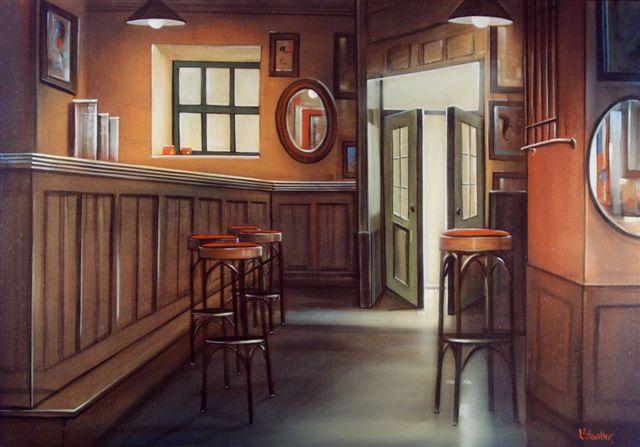 Café Extrablatt, 70x100, acryl en olieverf op doek
