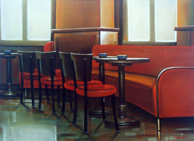 Café in Paris, 50x70, acryl en olievef op doek