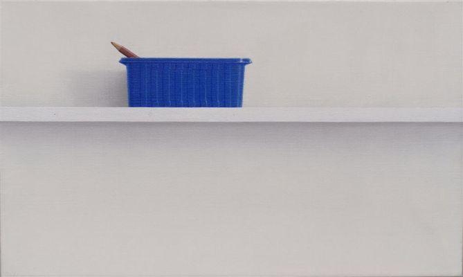 Champignondoos en kleurpotlood, 30x50, olieverf op doek