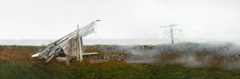 De Schuilhut, 40x120, olieverf op doek