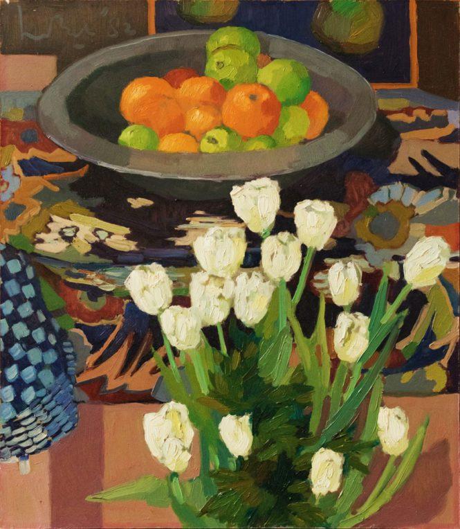 Fruit en Witte Tulpen 63x55 1982