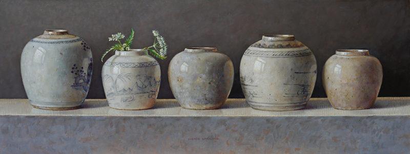Ingrid Smuling Gemberpotten op een rij, olieverf op paneel, 19 x 50