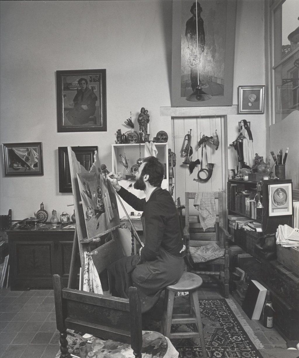 Henri Bol in voormalig atelier Engstraat