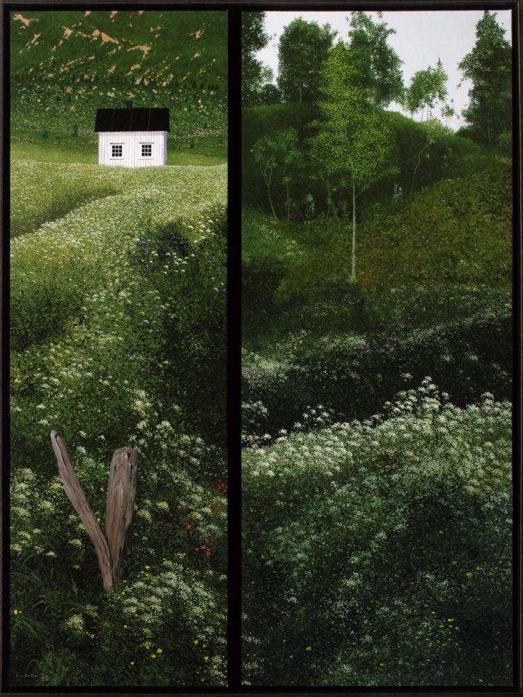 Het witte huis verder niets, 120x90, tweeluik, olieverf op doek