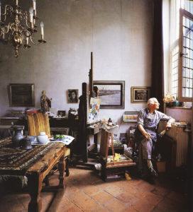 Kees Bol in het atelier Ridderstraat 23 Heusden Vesting 1995 (foto door Frans Lossie)