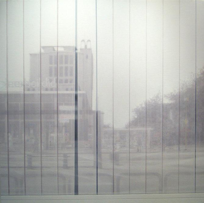 Reflectie Woodrow Wilson plein, 90x90, olieverf op doek