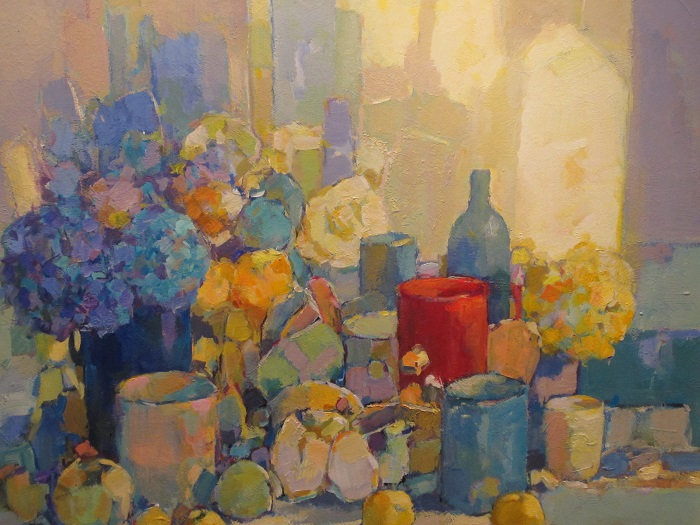 Rode-Frans Manders pot-Acryl-op-paneel-70x80