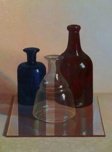 Stilleven met flessen, 40x30, olieverf op paneel