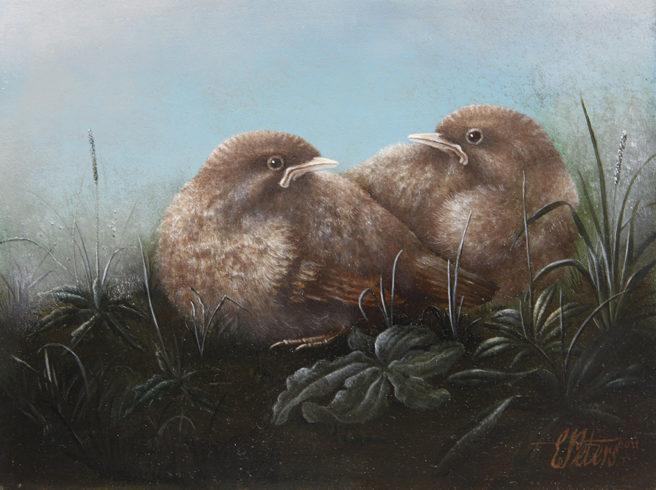 Twee jeudige Merels, olieverf op linnen op paneel, 24x18cm