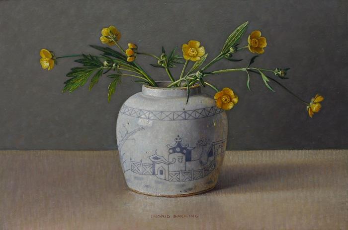 Ingrid Smuling 20x30 Boterbloemen in witte gemberpot