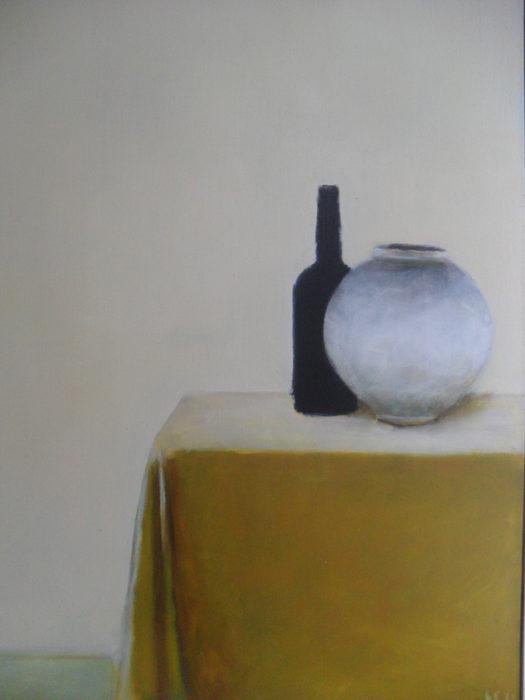 stilleven met pot en vaas, olieverf op doek, 100x75