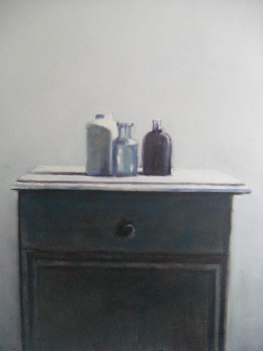 stilleven op kastje, olieverf op doek, 100x80